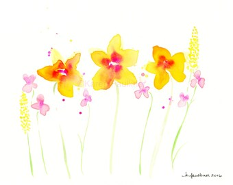 "Watercolor flowers, original watercolor painting of pink and yellow flowers: ""Summer Day"""