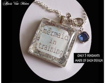Mermaid In Training, glitter pendants, glitter, sparkle, bling, original art pendants, gift boxeds,mermaids, mermaid jewelry
