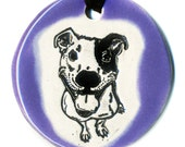 Happy Dog Ceramic Necklace in Purple