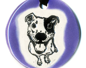 Happy Dog Ceramic Necklace in Purple