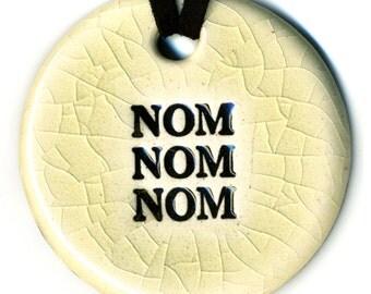 Nom Nom Nom Needed Ceramic Necklace in Cream Crackle