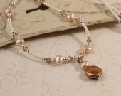 Swarovski Crystals Freshwater Pearls Minimalist Necklace, Beaded Necklace, Ivory Cream Glass Beads, Coin Pearl Pendant, Sterling Silver NAVA