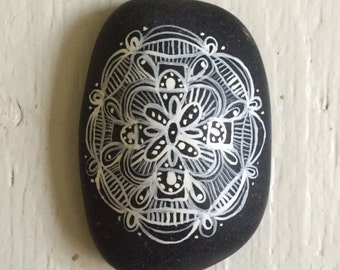 Hand Painted Pattern River Stone in White