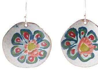 Hand Painted Enamel Earrings - OOAK - Hand painted botanical motif - leaf stencil art - EAD 150, 151/365