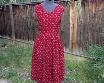Vintage 80s red floral corduroy pinafore dress ~ school girl ~ Kawaii