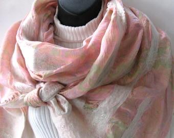 Scarf for Women Pastel Floral Soft Pink and Cream Nuno Felt Silk and Wool Scarf Spring Fashion Shawl Boho Chic Scarf Sari silk Merino wool