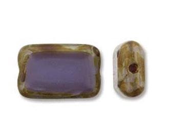 Czech Glass Table Cut Rectangle Opaque Dark Purple Picasso, 12x8mm (12 Bead Strand)