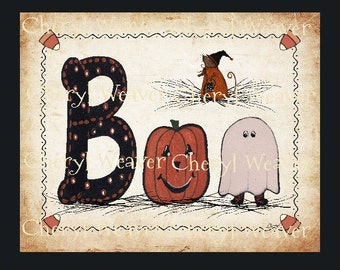 BOO - Halloween Laser Print with Jack-o-Lantern, Ghost, and Witchy Mouse 8 by 10 Print- Cheryl Weaver