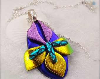 Iris flower jewelry, dichroic glass pendant, handmade, iris necklace, flower jewelry, statement necklace, glass fusion, fused glass art