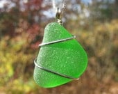 Kelly Green Sea Glass Necklace SALE