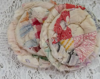 2 upcycled fabric flowers, cottage chic flower, gift top lot flower supplies, scrap flowers shabby upcycled quilt flower scrap appliques #52