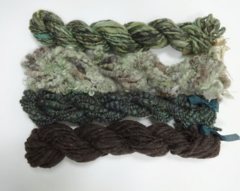 Enchanted Forest Handspun Yarn Skein Collection Art Yarn Variety Pack 4 mini skeins green brown