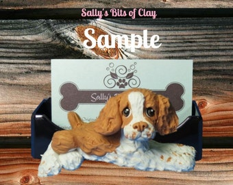 Brittany Spaniel dog Business Card /Cell Phone / Post It Note Holder OOAK Sculpture by Sally's Bits of Clay