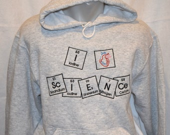 """Medium Hoodie I """"heart"""" ScIENCe in Periodic Table Embroidered Hooded Sweatshirt Chemistry Ready to Ship Adult Med"""