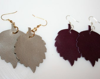 Leather Leaf Earrings Gray or Plum