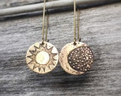 Sun and Moon Earrings - Mismatched Earrings - Antique Brass - One of a Kind Astronette Star Jewelry Handmade - Womens - Hand Drawn Etching