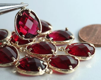 Promotion SALE 25% off Framed ruby red glass drop charm connector, earring componenet, necklace pendant, 2 pcs (item ID G50N09GP