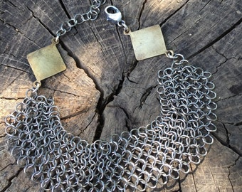 Chain Mail and Brass Links Bracelet