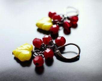 Garnet Red Bead, Lime Green Leaf Earrings, Gunmetal Earwires,Cheerful Dangle Earrings, January Birthday, Gift Box, Free USA Shipping