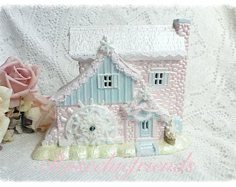 Christmas Ceramic House Water Mill Shabby Chic Cottage SVFTeam ECS sct schteam