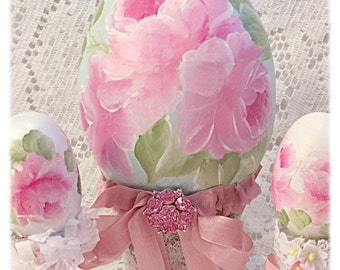 """Pale 6"""" Aqua Egg Cottage Chic Pink Hand Painted Roses Easter/Spring ECS sct schteam svfteam"""