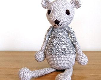 Teddy Bear, Knit Teddy Bear, Handmade Teddy Bear, Baby Gift, Baby Shower Gift, Newborn Gift, Knitted Bear, Unisex Baby Gift, Grey Bear