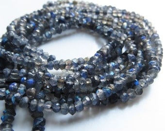 2mm Faceted Silver Labradorite Rondelles - One Full Strand