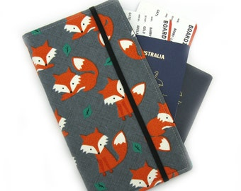 Travel Document Wallet, passport holder, family travel wallet, travel organizer, passport wallet - Orange Fox