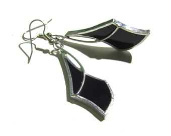 Jet Black Curves - Stained Glass Earrings - Abstract Womens Accessories Lightweight Jewelry Nickel-Free Hooks (READY TO SHIP)