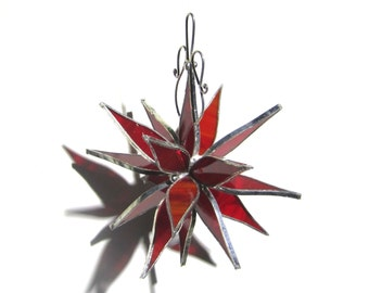 Ruby Petals - 3D Stained Glass Flower Burst - Small Red Christmas Home Garden Decor Suncatcher Hanging Ornament (READY TO SHIP)