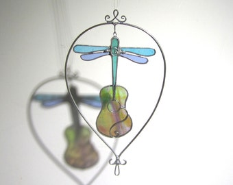 Taking Flight - 3D Stained Glass Nature Spinner - Colorful Dragonfly Guitar Wire Home Garden Decor Yard Art Suncatcher (READY TO SHIP)