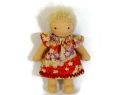 7 to 8 inch Waldorf doll dress in lilac and pumpkin print, toy clothing, tiny doll dress