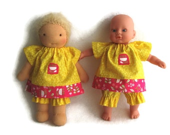 8 inch Waldorf doll dress and optional bloomers, yellow and pink floral doll dress, baby doll dress, handmade Waldorf doll clothes