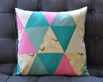 Triangle Patchwork Pillow Cover in Yellow, Pink and Teal