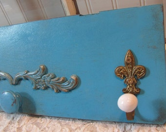Repurposed Cabinet Door Turquoise Wall Hanger with Hooks Shabby Distressed Farmhouse Prairie
