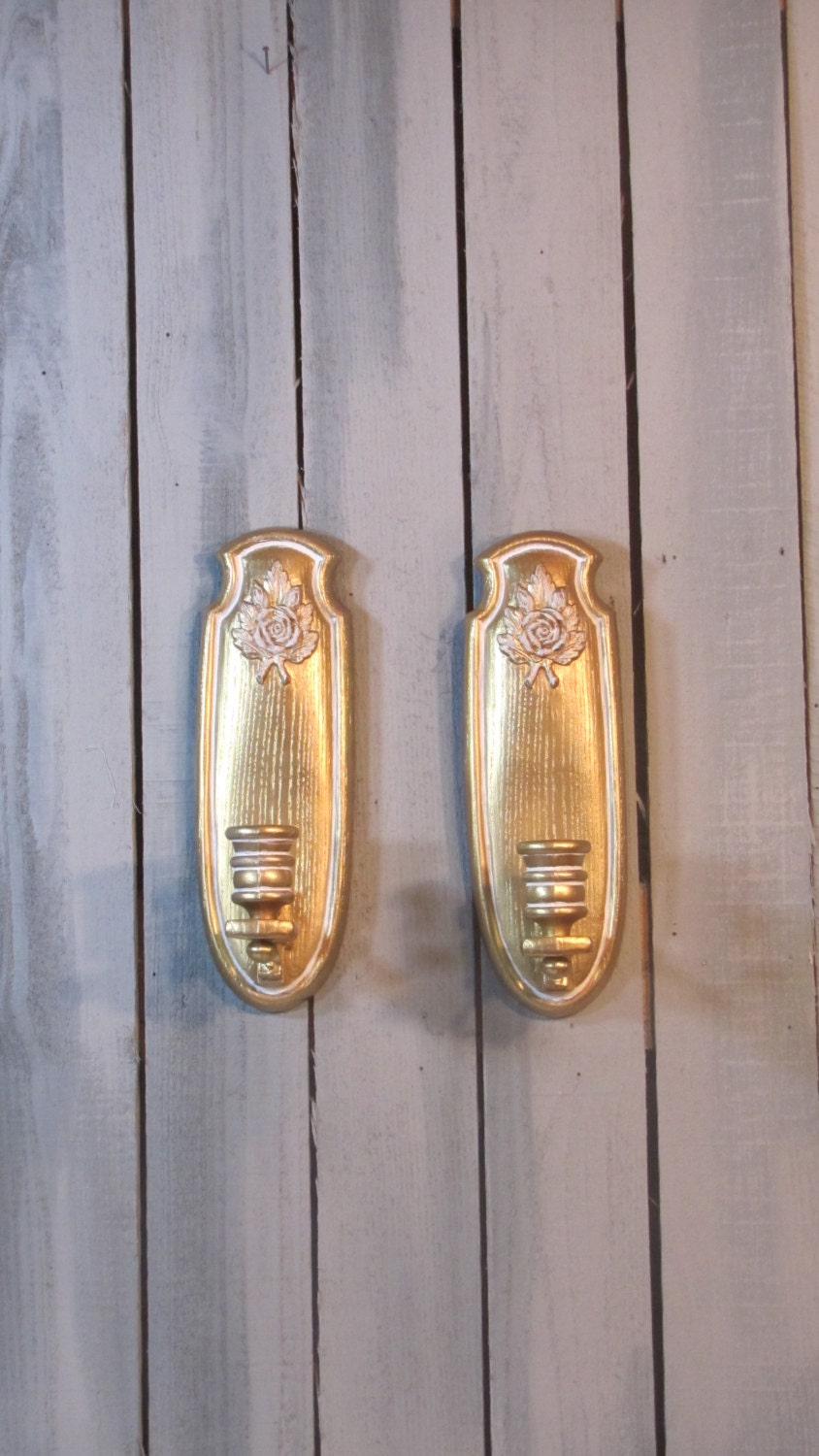Gold Wall Sconces For Candles : Candle Sconces Rose Motif Gold White Wall Home Decor