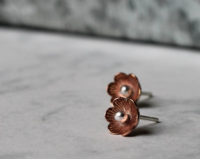 Vintage Bloom Studs - brass and sterling silver