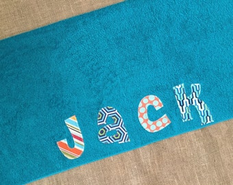 Boys or Girls Personalized Towel - Birthday gift, Bath Towel, Swim Towel, Beach Towel, Nap Mat, Party Favors - by Green Apple Boutique