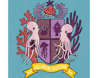 Print: The Royal Aquarium Souvenir Shop Crest (blue) - Illustration Art Octopus emblem Nautical Sea Ocean Creature  Fish Jellyfish Walldecor