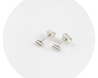 Tiny Bar Studs | Simple Solid Sterling Silver or Solid .9ct Yellow Gold Small Round Bar Studs Handcrafted by Ginny Reynders