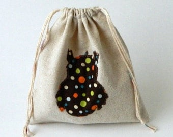 Back to School Reusable Sandwich or Snack bag, Fabric Drawstring Bag, Owl silhouette  drawstring snacks bag, Eco-friendly snacks bag