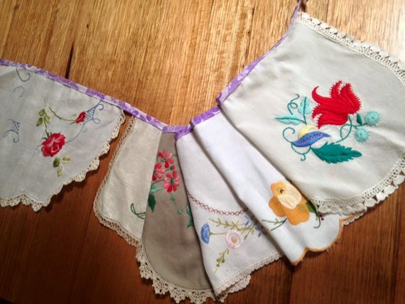 Upcycled vintage embroidered doily bunting flags banner