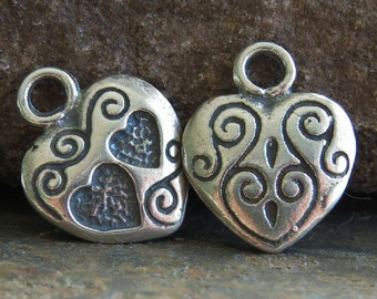 Bali Sterling Silver 13mm Heart Charm : Double Sided Charm