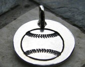 ON SALE Silver Baseball Charm, PMC Fine Silver