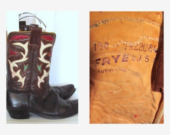 80s Frye Cowboy Boots Distressed Brown Leather Red White Green Inlay Sz 9.5
