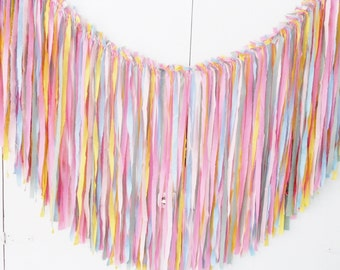 Rag Tie Garland, Rag Fringe Banner, CANDYLAND BIRTHDAY Fabric Garland, Tea Party, Shabby Chic Garland Farmhouse Wedding Photo Prop