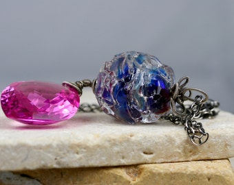Wire Wrapped Necklace, Gemstone Necklace, Lampwork Necklace, Glass Necklace, Pink Topaz Necklace, Artisan Necklace
