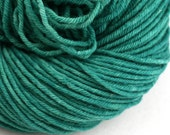 Hand Dyed Aran weight mini Empire Rambouillet Wool 213 yds 4oz Mogul Emerald
