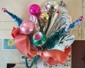Vintage / Christmas Corsage / Unusual Stamen / Mercury Glass Beads / Glass Balls / Silver Foil Holly Leaf