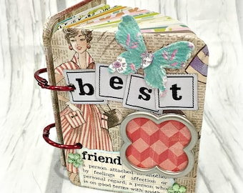 "BEST FRIEND A-Z Friendship 3 1/4""x 4 1/4"" Mini Album ATC Scrapbooking  Photo a-z"